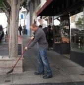 sweeping sidewalk