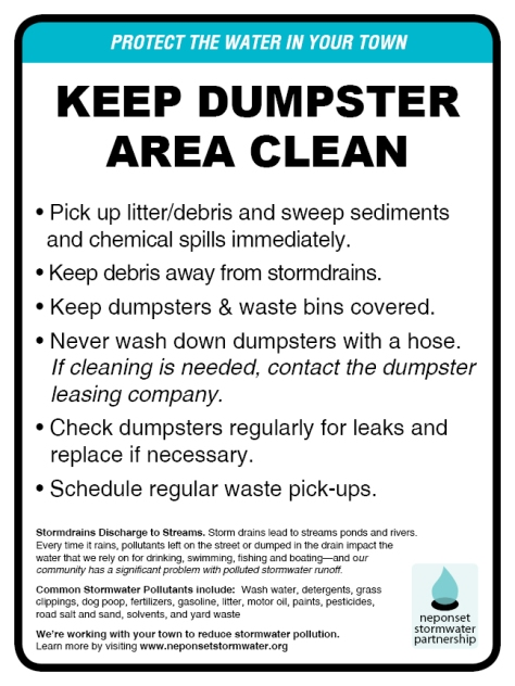 "Keep Dumpster Area Clean sign, 9""x12"""