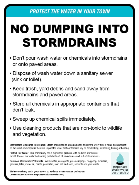 "No Dumping Into Stormdrains signs, 9""x12"""